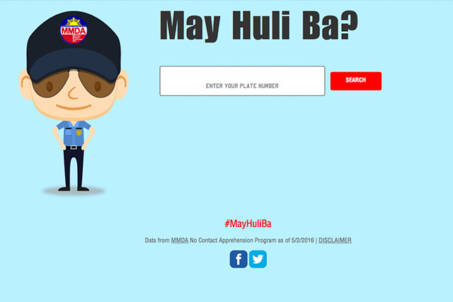 Interface ng bagobg website ng Metropolitan Manila Development Authority (MMDA) kung saan malalaman kung may violation ang isang motorista. (Photo Courtesy: screengrab, mayhuliba.com)