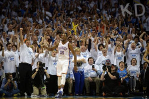 May 8, 2016; Oklahoma City, OK, USA; Oklahoma City Thunder forward Kevin Durant (35) reacts after a play against the San Antonio Spurs during the fourth quarter in game four of the second round of the NBA Playoffs at Chesapeake Energy Arena. Mandatory Credit: Mark D. Smith-USA TODAY Sports