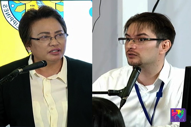 COMELEC Commissioner Rowena Guanzon (left) and Smartmatic Project Manager Marlon Garcia (right).