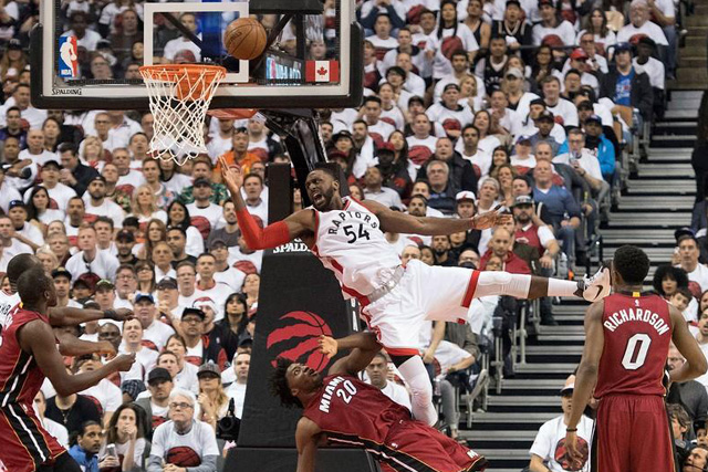 Sunday, May 15, 2016 May 15, 2016; Toronto, Ontario, CAN; Toronto Raptors forward Patrick Patterson (54) drives to the basket as Miami Heat forward Justise Winslow (20) tries to defend during the second quarter in game seven of the second round of the NBA Playoffs at Air Canada Centre. Mandatory Credit: Nick Turchiaro-USA TODAY Sports