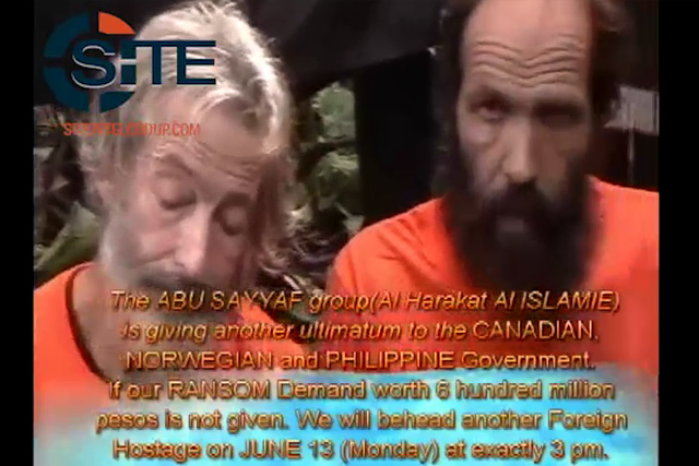 Abu Sayyaf hostages Canadian Robert Hall and Norwegian Kjartan Sekkingstad appeal to the Canadian, Norwegian and Philippine government on an uploaded video by the rebel group.