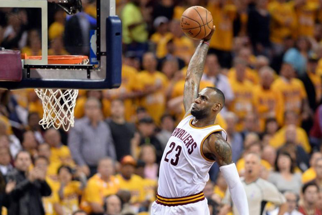 Tuesday, May 17, 2016 May 17, 2016; Cleveland, OH, USA; Cleveland Cavaliers forward LeBron James (23) slam dunks during the third quarter against the Toronto Raptors in game one of the Eastern conference finals of the NBA Playoffs at Quicken Loans Arena. The Cavs won 115-84. Mandatory Credit: Ken Blaze-USA TODAY Sports