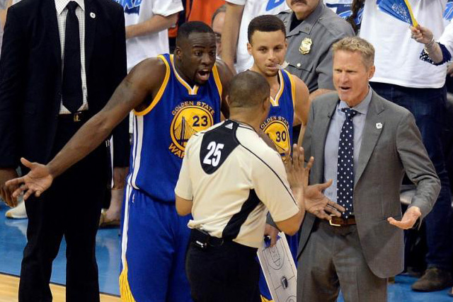 May 22, 2016; Oklahoma City, OK, USA; Golden State Warriors forward Draymond Green (23) and guard Stephen Curry (middle) and head coach Steve Kerr (right) argue with official Tony Brothers (25) during the first half against the Oklahoma City Thunder in game three of the...