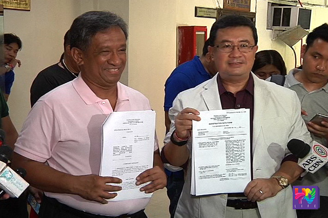 Rep. Jonathan Dela Cruz (left) and Atty. Jose Amor Amorado file complaints against 4 Smartmatic officials and 3 COMELEC I.T. personnel on the issue of unauthorized introduction of a new computer program into the COMELEC's transparency server during election day.