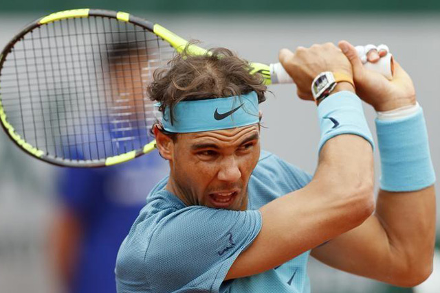 Tuesday, May 24, 2016 Tennis - French Open - Roland Garros - Rafael Nadal of Spain vs Sam Groth of Australia - Paris, France - 24/05/16. Rafael Nadal of Spain in action. REUTERS/Gonzalo Fuentes