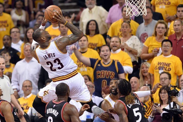 Wednesday, May 25, 2016 May 25, 2016; Cleveland, OH, USA; Cleveland Cavaliers forward LeBron James (23) shoots during the second quarter in game five of the Eastern conference finals of the NBA Playoffs at Quicken Loans Arena. Mandatory Credit: Ken Blaze-USA TODAY Sports