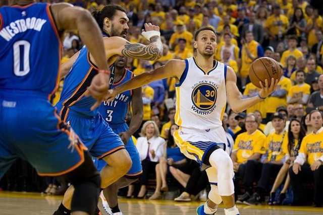 Friday, May 27, 2016 May 26, 2016; Oakland, CA, USA; Golden State Warriors guard Stephen Curry (30) dribbles the ball as Oklahoma City Thunder center Steven Adams (12) defends during the second quarter in game five of the Western conference finals of the NBA Playoffs at Oracle Arena. Mandatory Credit: Kelley L Cox-USA TODAY Sports