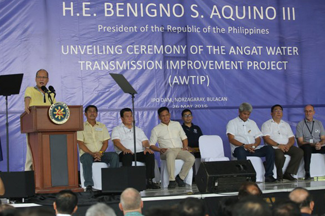 President Benigno S. Aquino III delivers his message during the unveiling ceremony of the Angat Water Transmission Improvement Project  in Ipo Dam, Norzagaray, Bulacan on Thursday (May 26). (Photo by Benjamin Basug / Lauro Montellano, Jr. / Malacañan Photo Bureau)
