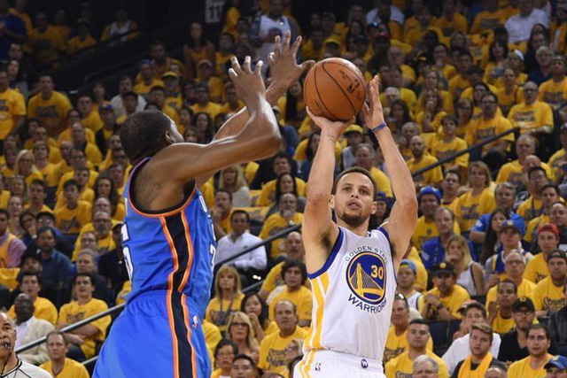 Tuesday, May 31, 2016 May 30, 2016; Oakland, CA, USA; Golden State Warriors guard Stephen Curry (30) shoots the basketball against Oklahoma City Thunder forward Kevin Durant (35) during the first quarter in game seven of the Western conference finals of the NBA Playoffs at Oracle Arena. Mandatory Credit: Kyle Terada-USA TODAY Sports