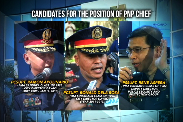 Candidates for the next PNP Chief.