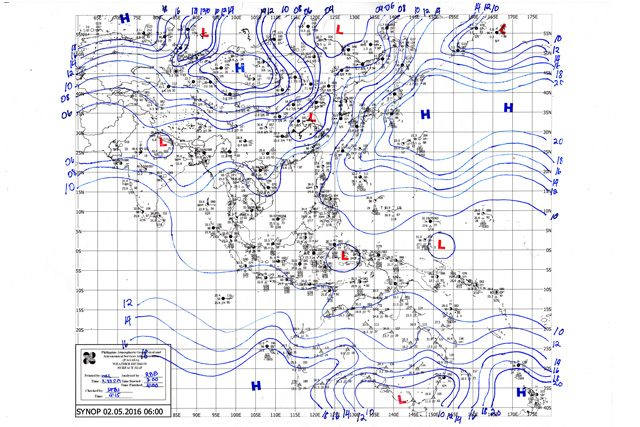 PAGASA-DOST Weather Map issued at : 5:00 AM 02 MAY 2016