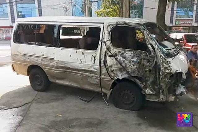 Ang pangalawang sasakyan sa convoy ni La Union 2nd District Representative Eufranio Eriguel na tinamaan ng pasabog noong Sabado ng umaga. (UNTV News)