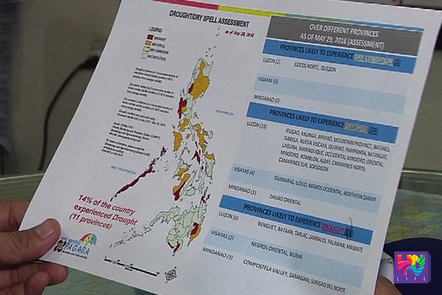 A Drought/Dry Spell Assessment pamphlet which indicates provinces affected by El Niño is pictured on a photo taken on Wednesday, June 1, 2016. (UNTV News)