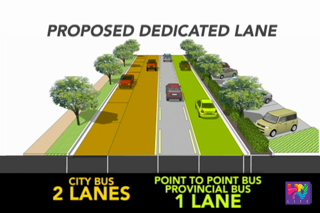 A graphical representation of dedicated lanes to city and provincial buses is seen in a photo. (UNTV NEWS)