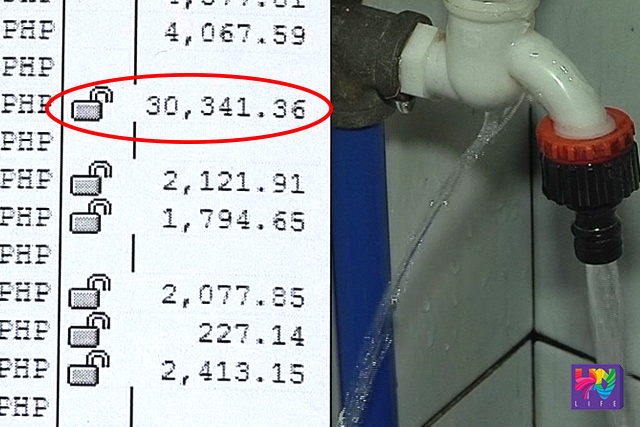 The actual water bill that amounts to P30,000 (left). A faucet that has leak is pictured in a photo (right). (UNTV NEWS)