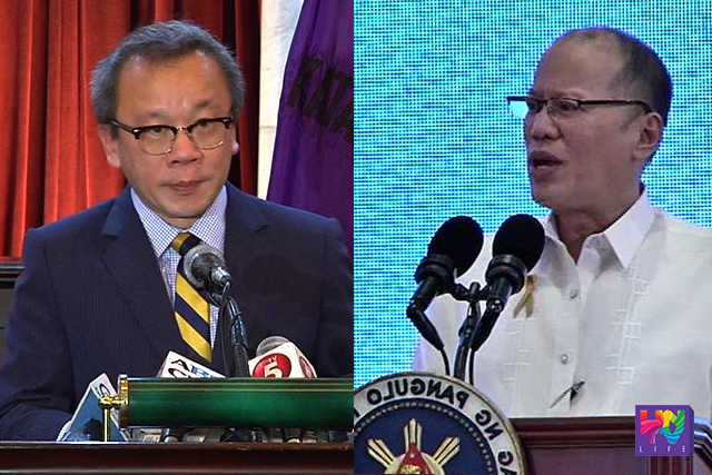 Supreme Court spokesperson Theodore Te (left0 and President Benigno Aquino III (right). (UNTV NEWS)