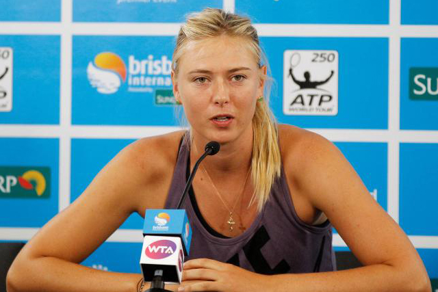 Maria Sharapova of Russia speaks during a news conference at the Brisbane International tennis tournament in Brisbane, Australia on January 1, 2013. REUTERS/DANIEL MUNOZ/FILE PHOTO