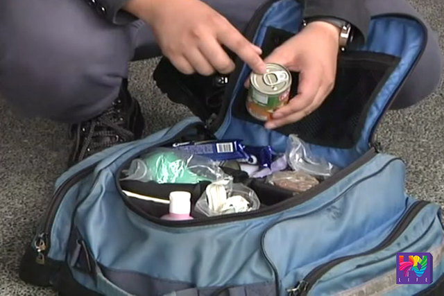 "A sample of a ""Go Bag'"" is pictured in a photo."