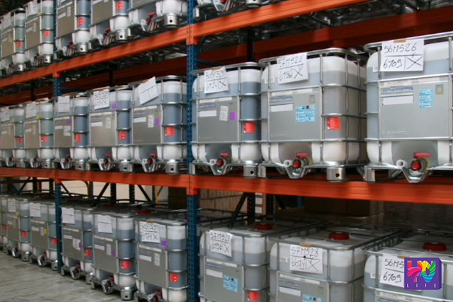 FILE PHOTO: Chemicals sealed in a container is stored in warehouse.