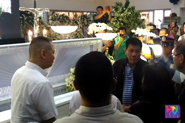 President-elect Rodrigo Duterte visits the wake of the late Bataan Vice Governor-elect Enrique 'Tet' Garcia on Wednesday, June 15, 2016.