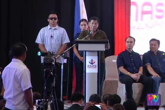 President-elect Rodrigo Duterte speaks before the Filipino business community in Davao City.