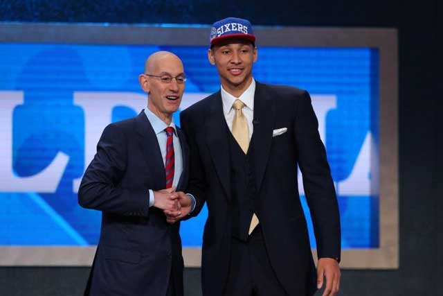 Thursday, June 23, 2016 Jun 23, 2016; New York, NY, USA; Ben Simmons (LSU) greets NBA commissioner Adam Silver after being selected as the number one overall pick to the Philadelphia 76ers in the first round of the 2016 NBA Draft at Barclays Center. Mandatory Credit: Brad Penner-USA TODAY Sports