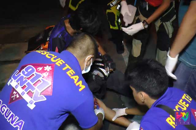 UNTV News and REscue Team administered first-aid treatment on a motorcycle rider who met an accident along National Highway in Biñan, Laguna.