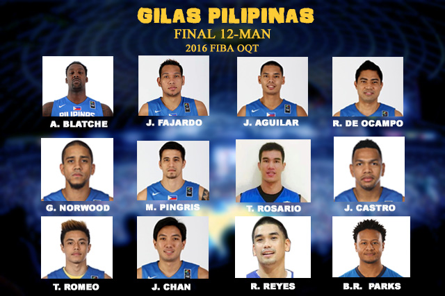Gilias Pilipinas 12-man line up for 2016 FIBA Olympic Qualifying Tournament.