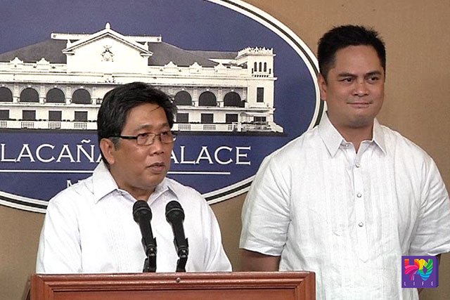 (L-R) The outgoing PCOO Chief Herminio 'Sonny' Coloma Jr. and the incoming, Martin Andanar