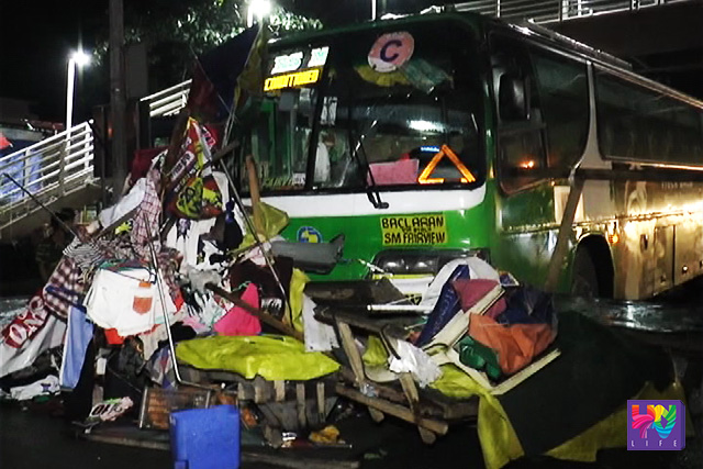 The passenger bus that plowed through four market stands in Commonwealth Avenue, Quezon City around 1 in the morning.