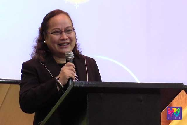 DOH secretary Paulyn Jean Rosell-Ubial speaks duting the turn-over ceremony at the Department of Health's convention Hall in Manila.