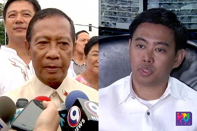 Foremer vice president Jejomar Binay (R) and son Junjun binay (L).
