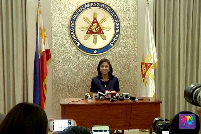 Vice President Leni Robredo talks with reporters on a pres conference.