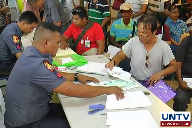 Applicants apply for license to own and possess firearms in PNP Firearms and Explosive Office in Quezon City.