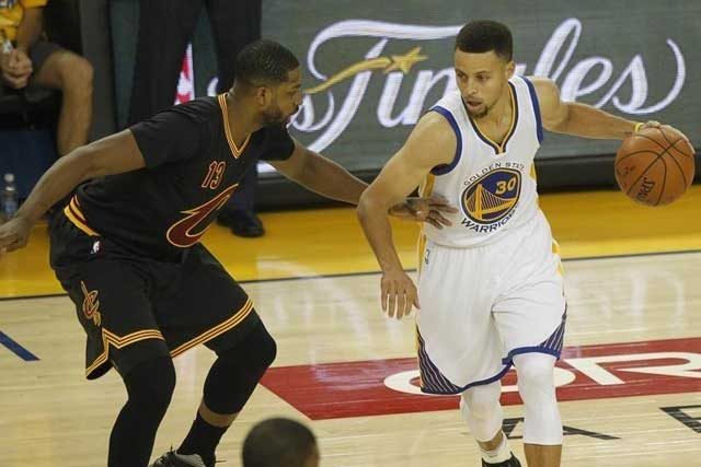 Friday, July 22, 2016 June 19, 2016; Oakland, CA, USA; Golden State Warriors guard Stephen Curry (30) moves the ball against Cleveland Cavaliers center Tristan Thompson (13) in the first half in game seven of the NBA Finals at Oracle Arena. Mandatory Credit: Cary Edmondson-USA TODAY Sports