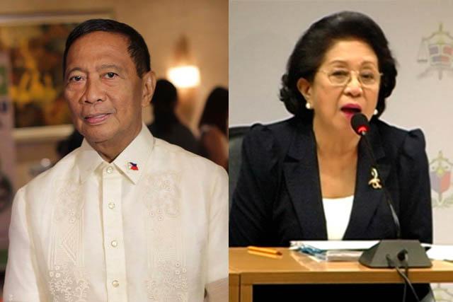 (L-R) Former VP Jejomar Binay and Ombudsman Conchita Carpio-Morales