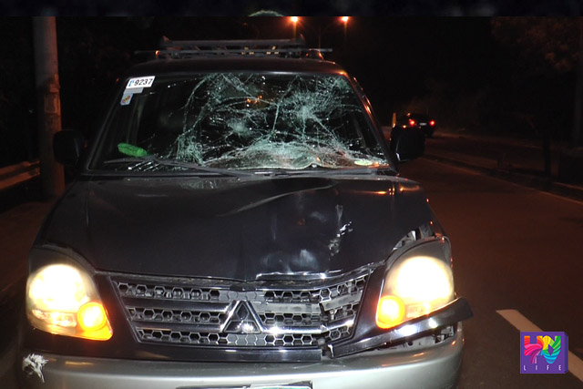 SUV that struck  the victim down, prompting a series of hits from other vehicles.