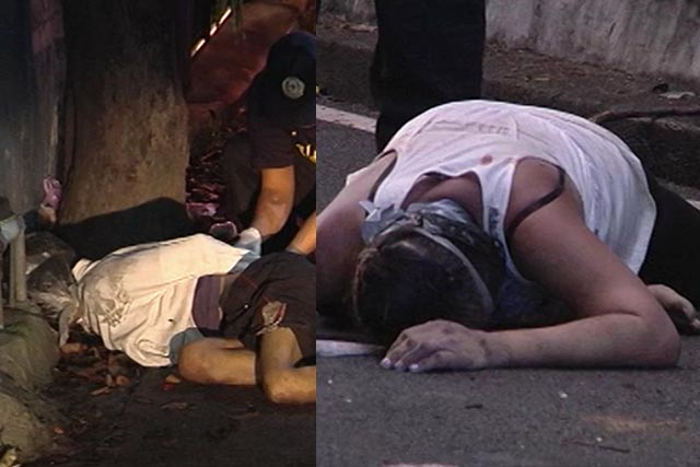 (L) Male victim on G. Soriano Street; (R) Female victim found on Sioson corner Maclang Street