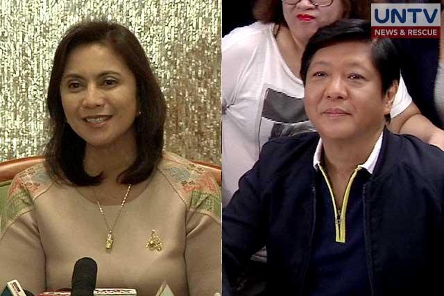 Vice Pres ident Leni Robredo (left) and former senator Bongbong Marcos Jr. (right).