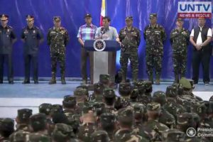 TALK TO TROOPS. President Rodrigo Duterte speaks before the Philippine Army's 4th Infantry Division in Cagayan de Oro City.