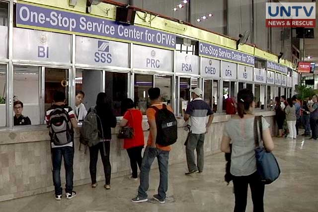 One-stop service for Overseas Filipino Workers or OFWs in side the POEA biulding in Ortigas.
