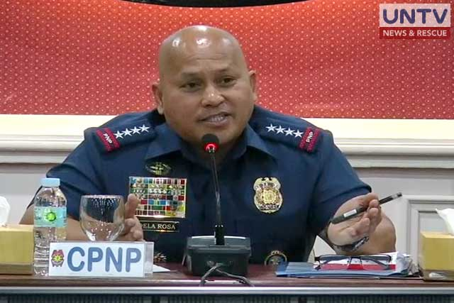 PNP Chief Ronald Dela Rosa gestures as he speaks before the press in a conference at PNP Headquarters in Quezon City.