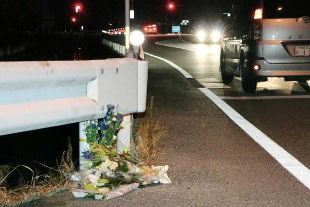 Flowers are laid near the scene where a passer-by was killed after being hit by a driver playing 'Pokemon Go' while driving in Tokushima, Japan, in this photo taken by Kyodo August 24, 2016. Mandatory credit Kyodo/via REUTERS