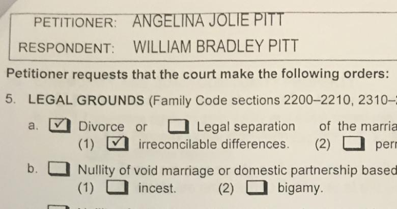 A copy of papers filed at Los Angeles Superior Court by Angelina Jolie shows her petition for divorce from her husband Brad Pitt in Los AngelesA copy of papers filed at Los Angeles Superior Court by Angelina Jolie shows her petition for divorce from her husband Brad Pitt in Los Angeles