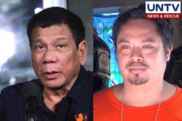 (L) Pres. Rodrigo Duterte (R) Jaybee Sebastian