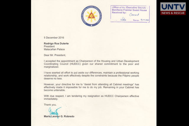 Copy of VP Leni\'s resignation letter | UNTV News