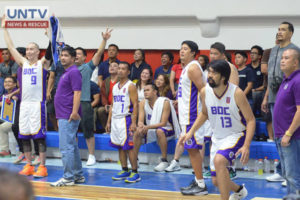 FILE PHOTO: Bureau of Customs Commissioner Nicanor Faeldon at the bench together with the whole BOC Transformers basketball team, players and staff enjoying a play in one of their games at UNTV Cup Season 5 Round 1 elimination. (Madz Milana / Photoville International)