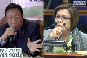 Solicitor General Jose Calida (L) and Sen. Leila de Lima (R).