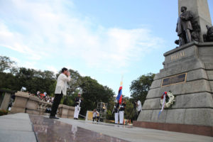 President Rodrigo Duterte pays respect to the late national hero Dr. Jose Rizal during a wreath-laying ceremony at Rizal National Monument in Manila. (Photo courtesy: PTV | King Rodriguez, Presidential Photo)