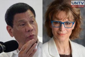 Philippine President Rodrigo Duterte (L) and United Nations special rapporteur on extra judicial killings, Agnes Callamard (R).